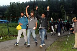 June 28, 2017 - Pahalgam, Jammu And Kashmir, India - The first batch of Amarnath pilgrims left from Pahalgam base camp for the cave shrine in the Kashmir Valley amid massive security arrangements . A total of 2280 pilgrims left the Nunwan Pahalgam base camp for Himalayan cave shrine in Anantnag district (Credit Image: © Aasif Shafi/Pacific Press via ZUMA Wire)