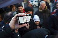 Roma 16 Marzo2013.Montecitorio, secondo giorno della  XVII legislatura..Il telefono cellulare di un attivista del M5S.
