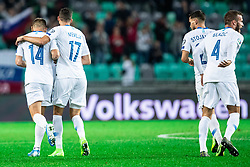 Roman Bezjak of Slovenia with Miha Mevlja of Slovenia during the 2020 UEFA European Championships group G qualifying match between Slovenia and Israel at SRC Stozice on September 9, 2019 in Ljubljana, Slovenia. Photo by Grega Valancic / Sportida