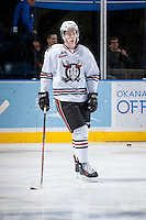 KELOWNA, CANADA - NOVEMBER 6: Haydn Fleury #4 of the Red Deer Rebels warms up on the ice against the Kelowna Rockets on NOVEMBER 6, 2013 at Prospera Place in Kelowna, British Columbia, Canada.   (Photo by Marissa Baecker/Shoot the Breeze)  ***  Local Caption  ***