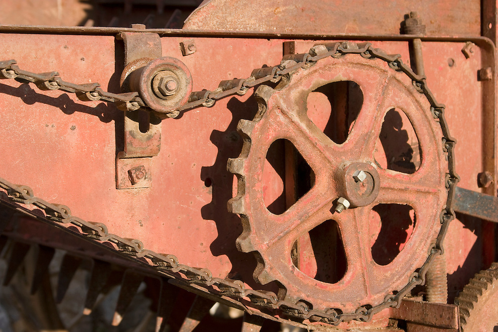 Close-up of gear on farm machinery
