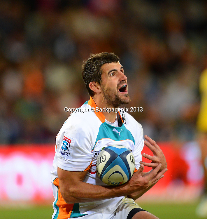 Hennie Daniller of the Cheetahs during the Super Rugby match between the Cheetahs and the Hurricanes at the Free State Stadium in Bloemfontein on May 10, 2013©Barry Aldworth/BackpagePix