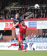 Dundee's David Clarkson beats Aberdeen's Shaleum Logan in the air  - Dundee v Abderdeen, SPFL Premiership at Dens Park<br /> <br />  - &copy; David Young - www.davidyoungphoto.co.uk - email: davidyoungphoto@gmail.com