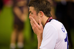 ROME, ITALY - Tuesday, May 26, 2009: Manchester United's Michael Carrick looks dejected after his side lose 2-0 to Barcelona during the UEFA Champions League Final at the Stadio Olimpico. (Pic by Carlo Baroncini/Propaganda)