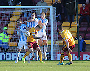 The Dundee wall of Kevin Thomson, Jim McAlister and Greg Stewart block Conor Grant's free kick - Motherwell v Dundee, SPFL Premiership at Fir Park<br /> <br />  - &copy; David Young - www.davidyoungphoto.co.uk - email: davidyoungphoto@gmail.com