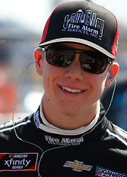 April 28, 2018 - Talladega, AL, U.S. - TALLADEGA, AL - APRIL 28:John Hunter Nemechek, Chip Ganassi Racing, Chevrolet Camaro Fire Alarm Services, Inc. (42) during qualifying for the 27th annual Sparks Energy 300 on Saturday April 28, 2018 at Talladega Superspeedway in Talladega, Alabama (Photo by Jeff Robinson/Icon Sportswire) (Credit Image: © Jeff Robinson/Icon SMI via ZUMA Press)