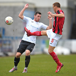 TELFORD COPYRIGHT MIKE SHERIDAN Aaron Williams of Telford battles for the ball with Brett Solkhon of Kettering  during the Vanarama Conference North fixture between AFC Telford United and Kettering at The New Bucks Head on Saturday, March 14, 2020.<br /> <br /> Picture credit: Mike Sheridan/Ultrapress<br /> <br /> MS201920-050