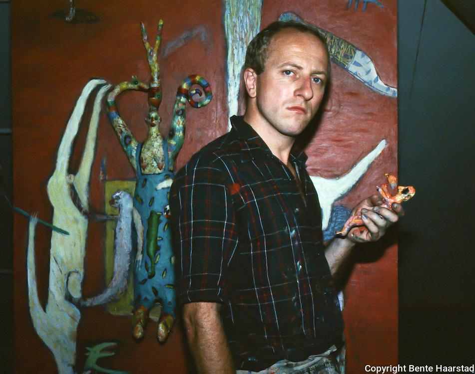 Kjell Erik Killi Olsen, norwegian artist. Trondheim, probably in 1985.