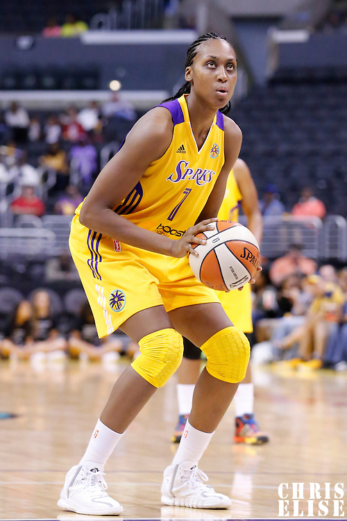 17 June 2014: Los Angeles Sparks forward/center Sandrine Gruda (7) is seen at the free throw line during the Minnesota Lynx  94-77 victory over the Los Angeles Sparks, at the Staples Center, Los Angeles, California, USA.