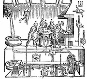 Hero of Alexandria's (lst century AD) mechanical blacksmiths. Woodcut from 'Gli Artificiose e curiosi moti spiritale de Herone', Bologna, 1647. The mechanism is powered by water.