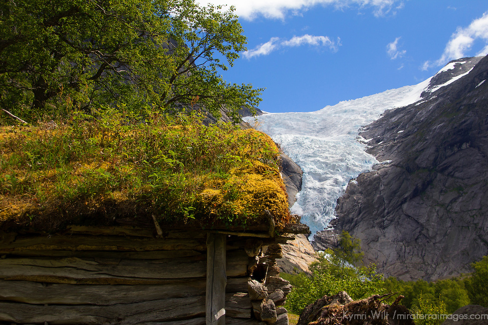 Europe, Norway, Olden. Briksdal Glacier and sod roof.