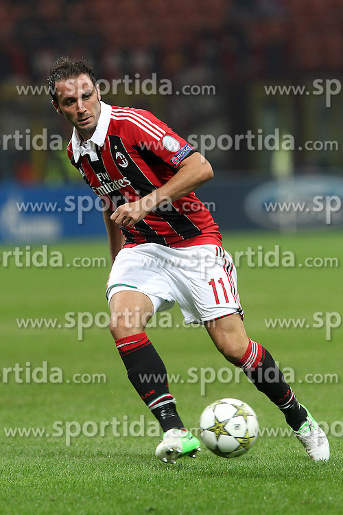 18.09.2012, Stadio Giuseppe Meazza, Mailand, ITA, UEFA Champions League, AC Mailand vs RSC Anderlecht, Gruppe C, im Bild Giampaolo Pazzini Milan // during the UEFA Champions League group C match between AC Milan and RSC Anderlecht at the Stadio Giuseppe Meazza, Milano, Italy on 2012/09/18. EXPA Pictures © 2012, PhotoCredit: EXPA/ Insidefoto/ Paolo Nucci..***** ATTENTION - for AUT, SLO, CRO, SRB, SUI and SWE only *****