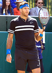 June 27, 2018 - Stole Poges, United Kingdom - Juan Martin del Potro (ARG) during his match against Taylor Fritz (USA)  day two of The Boodles Tennis Event at Stoke Park on June 27, 2018 in Stoke Poges, England  (Credit Image: © Kieran Galvin/NurPhoto via ZUMA Press)