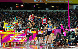 London, August 08 2017 . Evan Jager, USA, leads in the men's 3,000m steeplechase final on day five of the IAAF London 2017 world Championships at the London Stadium. © Paul Davey.