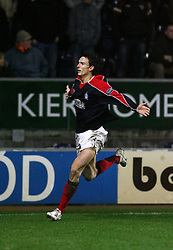 Alan Gow scores a late winner for Falkirk in the January 2007 game v Dunfermline..Pic : Michael Schofield.