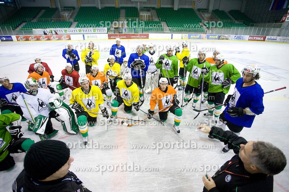 New head coach Randy William Edmonds (CAN) and his assistant Bojan Zajc at ice hockey practice of HDD Tilia Olimpija,  on October 16, 2008 in Arena Tivoli, Ljubljana, Slovenia.  (Photo by Vid Ponikvar / Sportal Images)