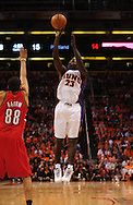 Apr 18, 2010; Phoenix, AZ, USA; Phoenix Suns guard Jason Richardson (23) puts up a basket during the first half in game one in the first round of the 2010 NBA playoffs at the US Airways Arena.  The Trail Blazers defeated the Suns 105-100.  Mandatory Credit: Jennifer Stewart-US PRESSWIRE