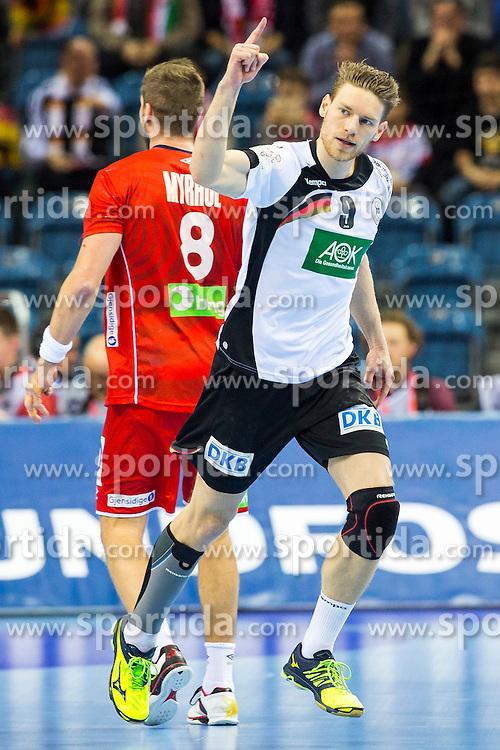 29.01.2016, Tauron Arena, Krakau, POL, EHF Euro 2016, Norwegen vs Deutschland, Halbfinale, im Bild Tobias Reichmann (Nr. 9, KS Vive Tauron Kielce/POL) nach einem Siebenmeter. // during the 2016 EHF Euro semi final match between Norway and Germany at the Tauron Arena in Krakau, Poland on 2016/01/29. EXPA Pictures &copy; 2016, PhotoCredit: EXPA/ Eibner-Pressefoto/ Koenig<br /> <br /> *****ATTENTION - OUT of GER*****