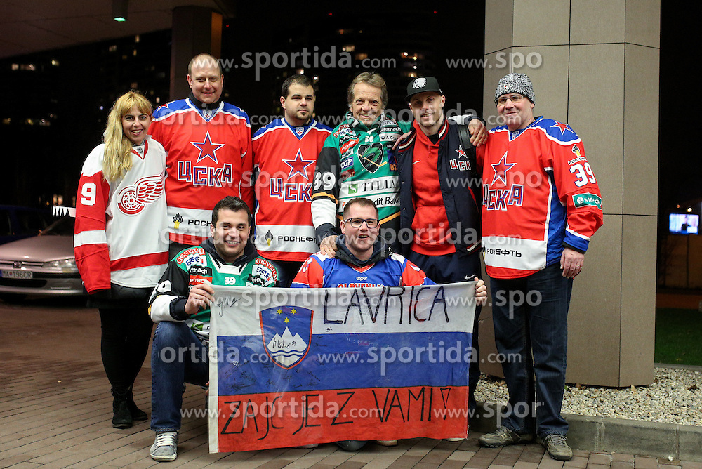 Fans and family with Jan Mursak of CSKA Moscow after KHL League ice hockey match between HK Slovan Bratislava and CSKA Moscow, on February 27, 2015 in Ondrej Nepela Arena, Bratislava, Slovakia. Photo by Matic Klansek Velej / Sportida