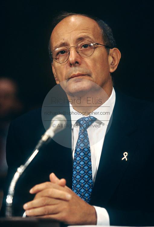 Senator Al D'Amato testifies during a Senate hearing on Nazi gold in Swiss banks May 20, 1997 in Washington, DC.