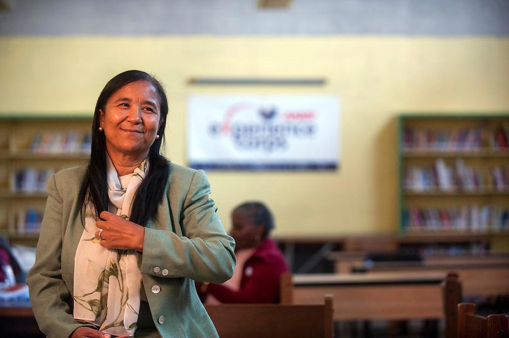 Philadelphia, Pennsylvania - October 24, 2013:<br /> <br /> Cramp Elementary School Principal Dr. Deanda Logan is interviewed in the school's library. Principal Logan's school uses AARP Experience Corps.