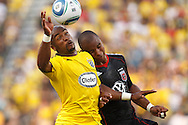 26 JUNE 2010: Emilio Renteria of the Columbus Crew (20) and Julius James #2 of DC United   during MLS soccer game between DC United vs Columbus Crew at Crew Stadium in Columbus, Ohio on May 29, 2010. Galaxy defeated the Crew 2-0.