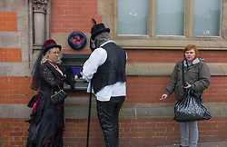 © Licensed to London News Pictures. 28&29/04/2012..Whitby, Yorkshire, England..Hundreds of Goths visit Whitby this weekend for the annual Whitby Goth Weekend held in the town...Photo credit : Ian Forsyth/LNP