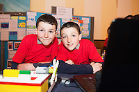 Raheen National School's Niall and Conor Horan at the Galway Education centre's Junior First Lego League at the Radisson Blu hotel. Photo:Andrew Downes, xposure.