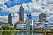View of the Cleveland, Ohio skyline and the Great Lakes Science Center