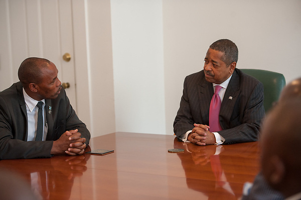 President McDavis meets with a delegations from Botswana's Ministry of Education and Ministry of Health at Cutler Hall.