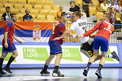 Max Neuhaus of Germany during handball match between National teams of Serbia and Germany in Main Round of 2018 EHF U20 Men's European Championship, on July 25, 2018 in Arena Zlatorog, Celje, Slovenia. Photo by Urban Urbanc / Sportida