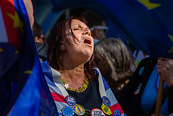 A Remain supporter howls her slogans as Parliament debates a move by MPs to get an extension to Article 50 rather than allowing the Government to leave the EU without a deal on October 31st. London, September 04 2019.
