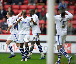 SHEFFIELD, ENGLAND - Saturday, March 17, 2012: Tranmere Rovers' Lucas Akins celebrates scoring the equalising goal against Sheffield United during the Football League One match at Bramall Lane. (Pic by David Rawcliffe/Propaganda)