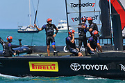 Defenders Emirates Team New Zealand skippered by Peter Burling celebrate during the 35th America's Cup 2017, Day 4, on June 25, 2017 in Hamilton, Bermuda - Photo Christophe Favreau / ProSportsImages / DPPI