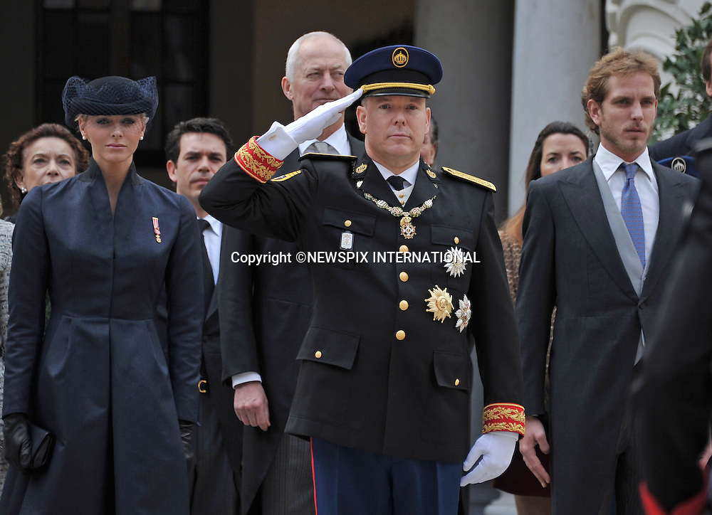 "PRINCE ALBERT AND PRINCESS CHARLENE .together with other members of the Monaco Royal Family attend mass at the Cathedrale, on the occasion of the National Day, Monte Carlo, Monaco_19/11/2012.Mandatory Credit Photos: ©NEWSPIX INTERNATIONAL..**ALL FEES PAYABLE TO: ""NEWSPIX INTERNATIONAL""**..PHOTO CREDIT MANDATORY!!: NEWSPIX INTERNATIONAL(Failure to credit will incur a surcharge of 100% of reproduction fees)..IMMEDIATE CONFIRMATION OF USAGE REQUIRED:.Newspix International, 31 Chinnery Hill, Bishop's Stortford, ENGLAND CM23 3PS.Tel:+441279 324672  ; Fax: +441279656877.Mobile:  0777568 1153.e-mail: info@newspixinternational.co.uk"