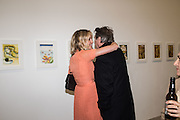 BODIL BLAIN; BRYAN FERRY, Francesco Clemente Private view,  Emblems of Transformation. Blain Southern. London. 28 April 2015