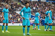 Heung-Min Son (Tottenham) waiting for the corner kick to come across during the Premier League match between Brighton and Hove Albion and Tottenham Hotspur at the American Express Community Stadium, Brighton and Hove, England on 5 October 2019.