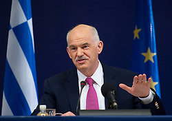 George Papandreou, Greece's prime minister, speaks during a news conference following the European Summit, in Brussels, on Friday, March 26, 2010. (Photo © Jock Fistick)