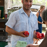 Farmer Rodrigo Venturelli of Plan B Organic Farm at Dufferin Grove farmers market.