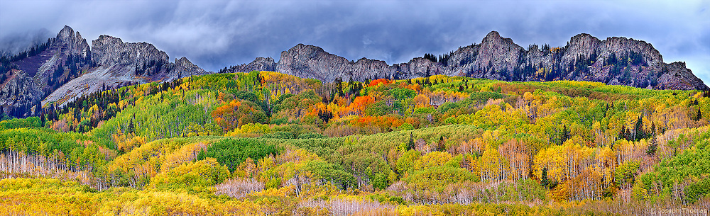 "A carpet of aspen envelops the hills beneath a jagged ridgeline known as ""The Dyke"" in the Ruby Range."