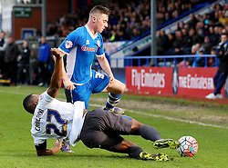 Nathan Cameron of Bury tackles James Hooper of Rochdale - Mandatory byline: Matt McNulty/JMP - 06/12/2015 - Football - Spotland Stadium - Rochdale, England - Rochdale v Bury - FA Cup