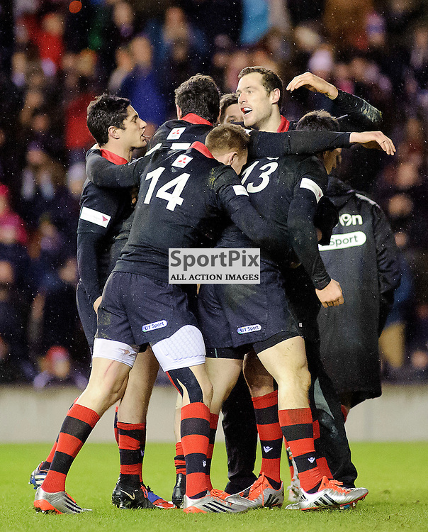 02/01/2015, Murrayfield, Scotland, Tim VISSER ceebrates his 2nd try of the game during the Edinburgh Rugby v Glasgow Warriors Guinness PRO12 & 1872 Cup game, ......(c) COLIN LUNN | SportPix.org.uk