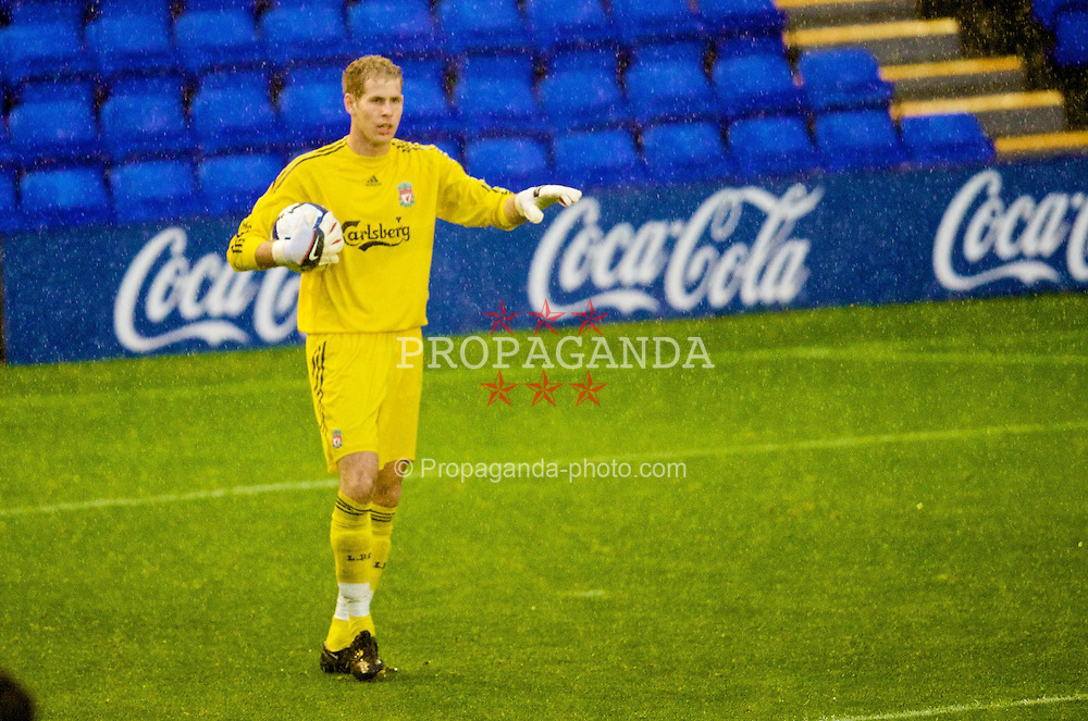BIRKENHEAD, ENGLAND - Wednesday, September 2, 2009: Liverpool's goalkeeper Peter Gulacsi during the FA Premiership Reserves League (Northern Division) match against Bolton Wanderers at Prenton Park. (Photo by David Rawcliffe/Propaganda)