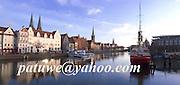 Panorama, Hansastadt Lübeck, Schleswig-Holstein, harbour, Germany