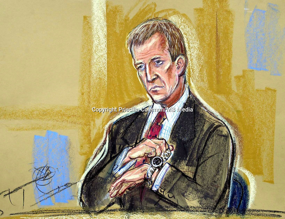 ©PRISCILLA COLEMAN ITV NEWS 19.08.03..SUPPLIED BY: PHOTONEWS SERVICE LTD OLD BAILEY..PIC SHOWS: ALASTAIR CAMPBELL, SEEN HERE REMOVING HIS WATCH DURING QUESTIONING. CAMPBELL APPEARED AT THE HIGH COURT TODAY TO GIVE EVIDENCE IN THE INQUIRY INTO THE DEATH OF DR DAVID KELLY-SEE STORY..ILLUSTRATION: PRISCILLA COLEMAN ITV NEWS