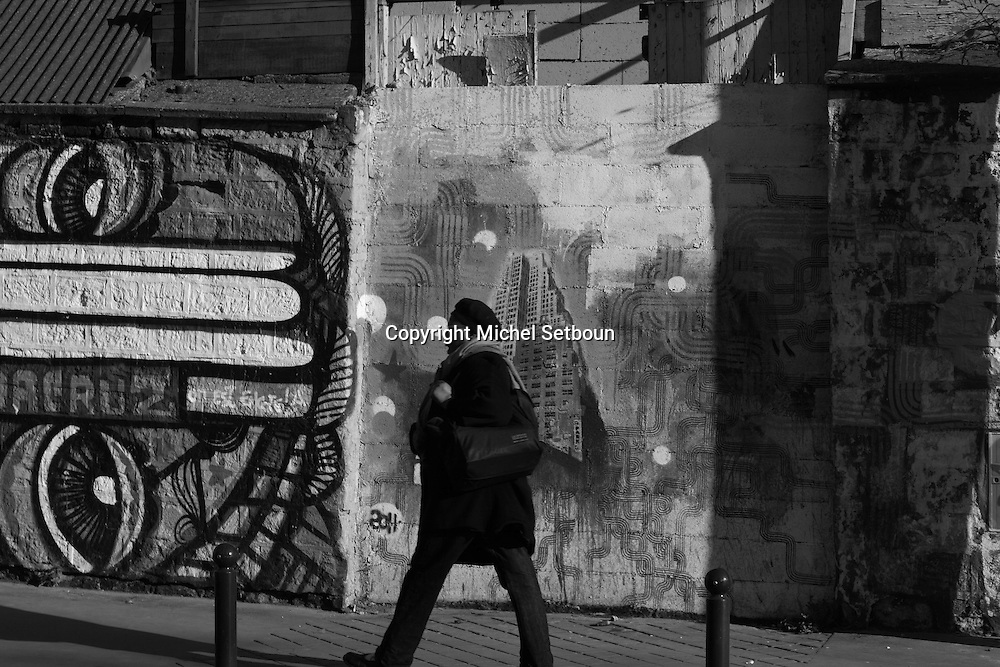 France. Paris 19th district, Graffitis in Corentin cariou district