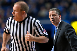 Kentucky head coach John Calipari jaws at the officials as they run up the court in the first half. Calipari was critical of the calls made during the first half. <br /> <br /> The University of Kentucky hosted the University of Georgia, Tuesday, Feb. 09, 2016 at Rupp Arena in Lexington .
