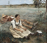 The Haymakers': Jules Bastien-Lepage (1848-1884) French painter.  Man and girt , exhausted by their work, taking a rest.  In background hay is being gathered into mounds.