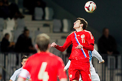 Konstantin Bazelyuk of Russia vs Blaz Vrhovec of Slovenia during football match between U21 National Teams of Slovenia and Russia in 6th Round of U21 Euro 2015 Qualifications on November 15, 2013 in Stadium Bonifika, Koper, Slovenia. Russia defeated Slovenia 1-0. Photo by Vid Ponikvar / Sportida