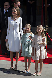 19.06.2014, Madrid, ESP, Abdankung K&ouml;nig Juan Carlos, Kr&ouml;nungszeremonie, im Bild King Felipe VI of Spain and Queen Letizia of Spain leave Congreso de los Diputados with their children Princess Sofia and infant Elena // during the celebration of the coronation ceremony. Kin Juan I of Spain abdicated on his son Felipe at the beginning of June. Madrid, Spain on 2014/06/19. EXPA Pictures &copy; 2014, PhotoCredit: EXPA/ Alterphotos/ Victor Blanco<br /> <br /> *****ATTENTION - OUT of ESP, SUI*****